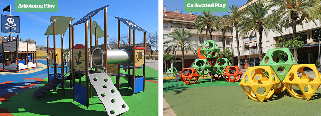 Pirate themed Multi-play unit and PlayCubes climbing frames