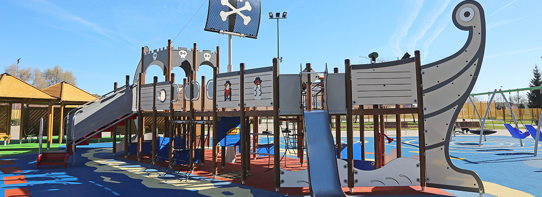 Large custom made pirate themed inclusive mutli-play structure