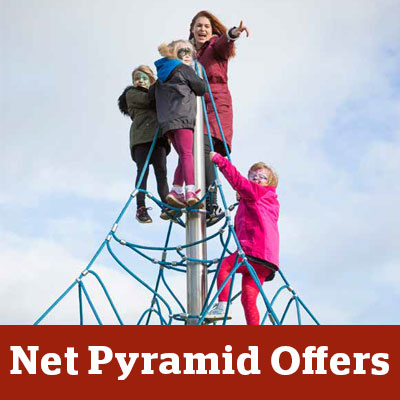 children on top of a net pyramid