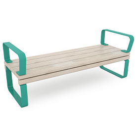 park bench with armrests in green