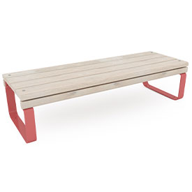 park bench with red steel legs