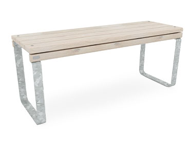 narrow park table with galvanised legs