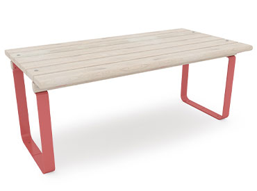 wide park table with red steel legs