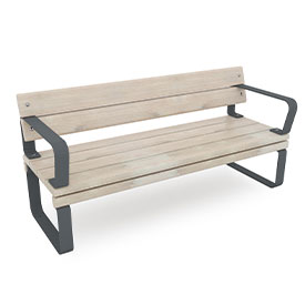 park bench with back and armrests in grey