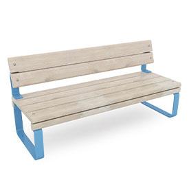 park bench with back rest in blue