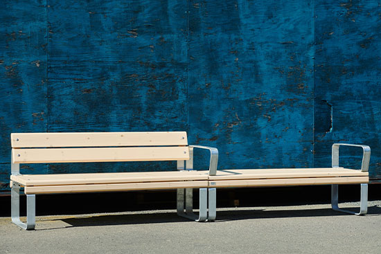 park bench with back and arm rests and bench without back and armrests
