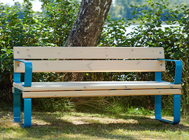 park bench in blue with back and armrests