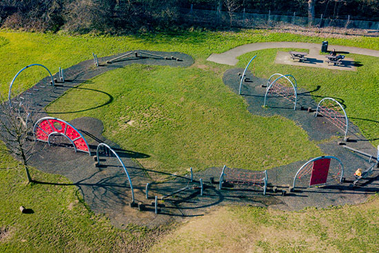 Bird's eye view of a playground trail play system